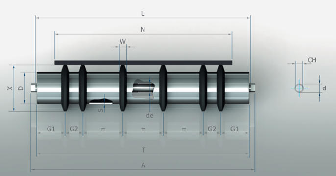 Products - Conveyor Rollers - Metall Rollers - Rollers with